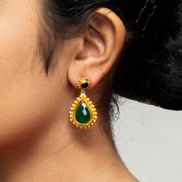 Silver Gold Plated Bright Green Earring - By Unniyarcha - Original Manufacturers of Silver Jewelry, Gold Plated Jewellery, Fashion Jewellery and Personalized Soul Bands and Personalized Jewelry