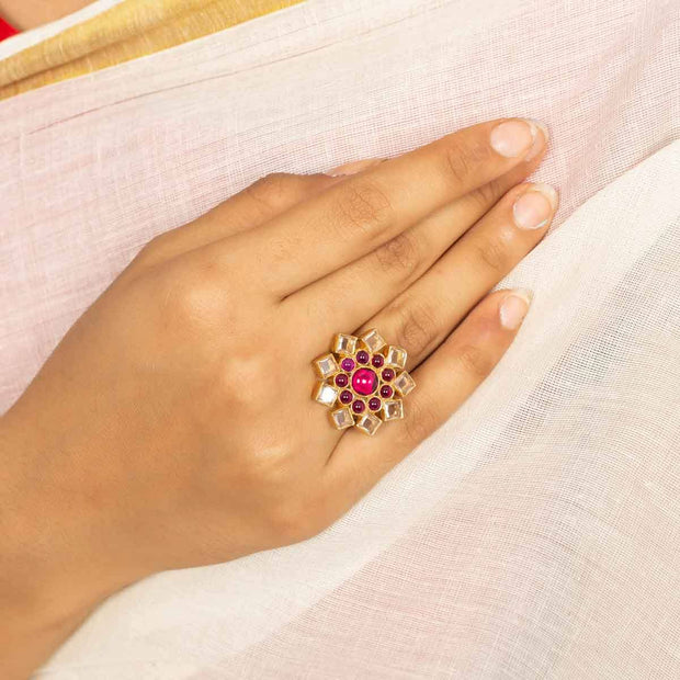 Silver Gold Plated Flower Polki Ring - By Unniyarcha - Original Manufacturers of Silver Jewelry, Gold Plated Jewellery, Fashion Jewellery and Personalized Soul Bands and Personalized Jewelry
