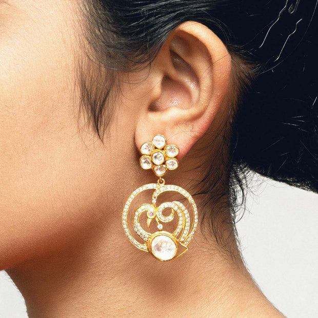 Silver Gold Plated Flower Zircon Earring - By Unniyarcha - Original Manufacturers of Silver Jewelry, Gold Plated Jewellery, Fashion Jewellery and Personalized Soul Bands and Personalized Jewelry