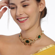 Silver Gold Plated Green Choker - By Unniyarcha - Original Manufacturers of Silver Jewelry, Gold Plated Jewellery, Fashion Jewellery and Personalized Soul Bands and Personalized Jewelry