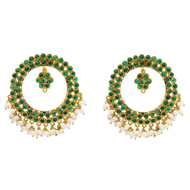 Silver gold plated green circle earrings - By Unniyarcha - Original Manufacturers of Silver Jewelry, Gold Plated Jewellery, Fashion Jewellery and Personalized Soul Bands and Personalized Jewelry