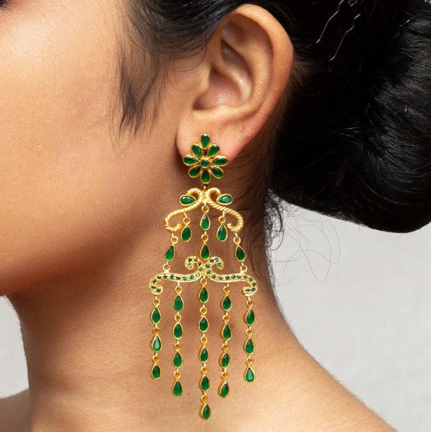 Silver gold plated green flower earrings - By Unniyarcha - Original Manufacturers of Silver Jewelry, Gold Plated Jewellery, Fashion Jewellery and Personalized Soul Bands and Personalized Jewelry