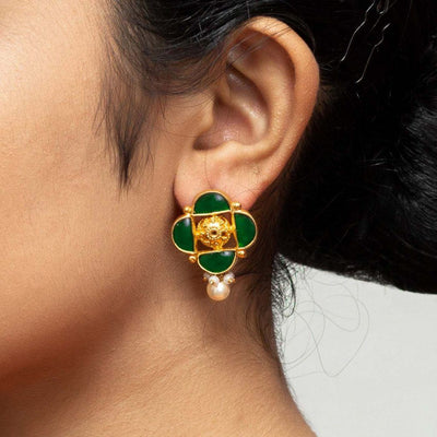 Silver Gold Plated Green Jadau Earring - By Unniyarcha - Original Manufacturers of Silver Jewelry, Gold Plated Jewellery, Fashion Jewellery and Personalized Soul Bands and Personalized Jewelry