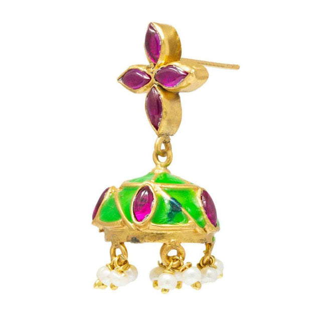 Silver Gold Plated Green Jhumka - By Unniyarcha - Original Manufacturers of Silver Jewelry, Gold Plated Jewellery, Fashion Jewellery and Personalized Soul Bands and Personalized Jewelry