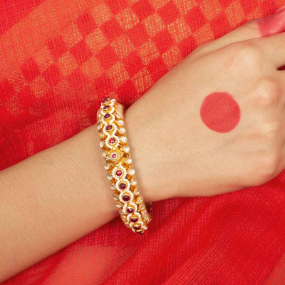 Silver gold plated jadau bangle - Unniyarcha Jewellery