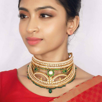 Silver Gold Plated Jadau Choker - By Unniyarcha - Original Manufacturers of Silver Jewelry, Gold Plated Jewellery, Fashion Jewellery and Personalized Soul Bands and Personalized Jewelry