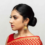 Silver Gold Plated Jadau Jhumka Earrings - By Unniyarcha - Original Manufacturers of Silver Jewelry, Gold Plated Jewellery, Fashion Jewellery and Personalized Soul Bands and Personalized Jewelry