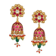 Silver Gold Plated Jadau Red Jhumkas - By Unniyarcha - Original Manufacturers of Silver Jewelry, Gold Plated Jewellery, Fashion Jewellery and Personalized Soul Bands and Personalized Jewelry