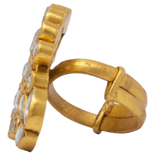 Silver Gold Plated jadau ring - By Unniyarcha - Original Manufacturers of Silver Jewelry, Gold Plated Jewellery, Fashion Jewellery and Personalized Soul Bands and Personalized Jewelry