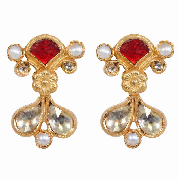 Silver gold plated kundan earrings - By Unniyarcha - Original Manufacturers of Silver Jewelry, Gold Plated Jewellery, Fashion Jewellery and Personalized Soul Bands and Personalized Jewelry