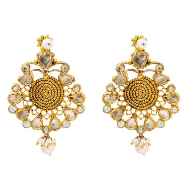 Silver Gold Plated Kundan Mughal Earring - By Unniyarcha - Original Manufacturers of Silver Jewelry, Gold Plated Jewellery, Fashion Jewellery and Personalized Soul Bands and Personalized Jewelry