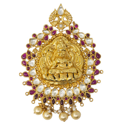 Silver Gold Plated Lakshmi Jadau Pendant - By Unniyarcha - Original Manufacturers of Silver Jewelry, Gold Plated Jewellery, Fashion Jewellery and Personalized Soul Bands and Personalized Jewelry