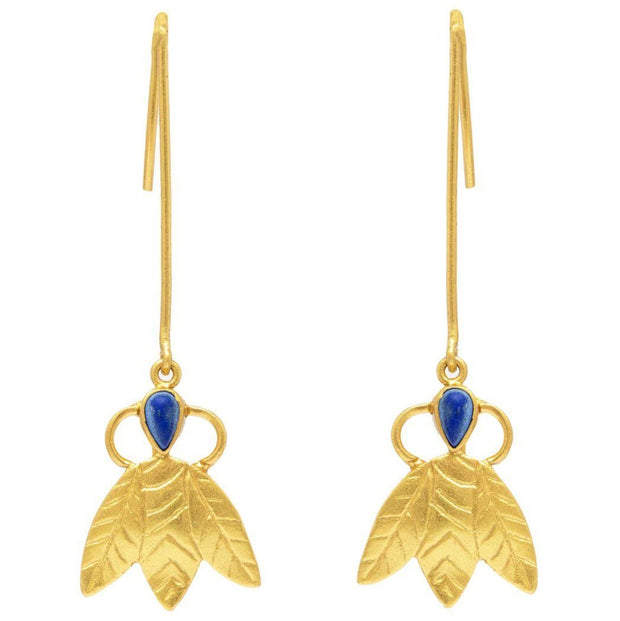 Silver Gold Plated Lapis Earring - By Unniyarcha - Original Manufacturers of Silver Jewelry, Gold Plated Jewellery, Fashion Jewellery and Personalized Soul Bands and Personalized Jewelry