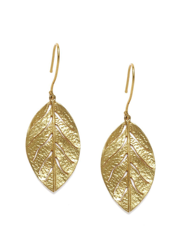 Silver Gold Plated Leaf Drop Earrings - By Unniyarcha - Original Manufacturers of Silver Jewelry, Gold Plated Jewellery, Fashion Jewellery and Personalized Soul Bands and Personalized Jewelry