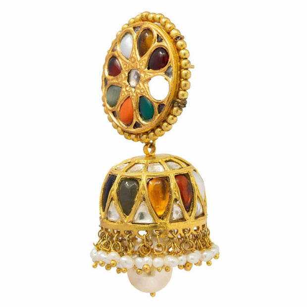 Silver Gold Plated Navrathan Jhumka - By Unniyarcha - Original Manufacturers of Silver Jewelry, Gold Plated Jewellery, Fashion Jewellery and Personalized Soul Bands and Personalized Jewelry