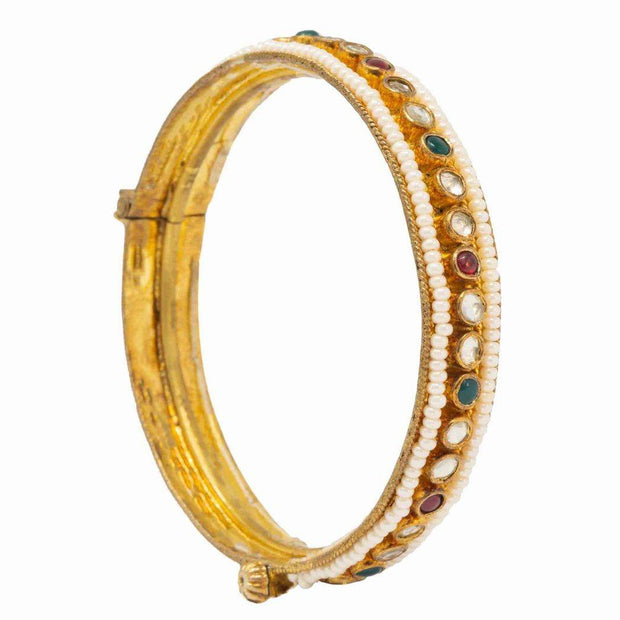 Silver Gold Plated Pearl Bangle - By Unniyarcha - Original Manufacturers of Silver Jewelry, Gold Plated Jewellery, Fashion Jewellery and Personalized Soul Bands and Personalized Jewelry