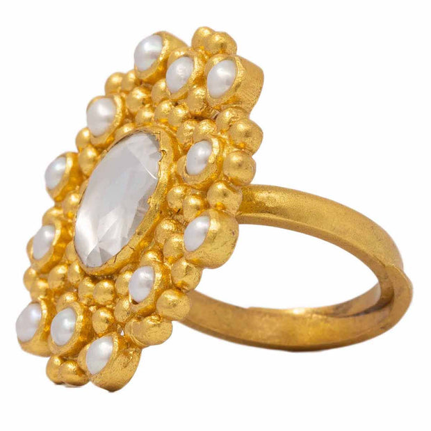 Silver Gold Plated Pearl Ring - By Unniyarcha - Original Manufacturers of Silver Jewelry, Gold Plated Jewellery, Fashion Jewellery and Personalized Soul Bands and Personalized Jewelry