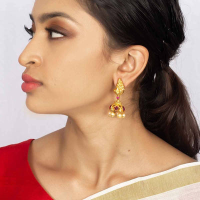 Silver Gold Plated Pink Earring - By Unniyarcha - Original Manufacturers of Silver Jewelry, Gold Plated Jewellery, Fashion Jewellery and Personalized Soul Bands and Personalized Jewelry
