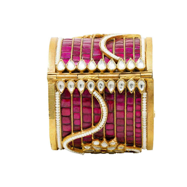 Silver gold plated pink jadau bangle - By Unniyarcha - Original Manufacturers of Silver Jewelry, Gold Plated Jewellery, Fashion Jewellery and Personalized Soul Bands and Personalized Jewelry