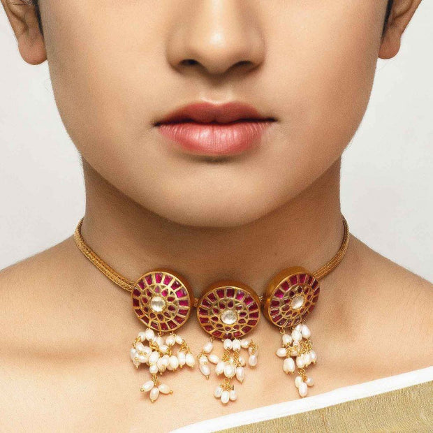 Silver Gold Plated Red Choker - By Unniyarcha - Original Manufacturers of Silver Jewelry, Gold Plated Jewellery, Fashion Jewellery and Personalized Soul Bands and Personalized Jewelry