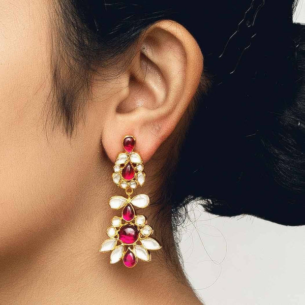 Silver gold plated red flower earring - By Unniyarcha - Original Manufacturers of Silver Jewelry, Gold Plated Jewellery, Fashion Jewellery and Personalized Soul Bands and Personalized Jewelry