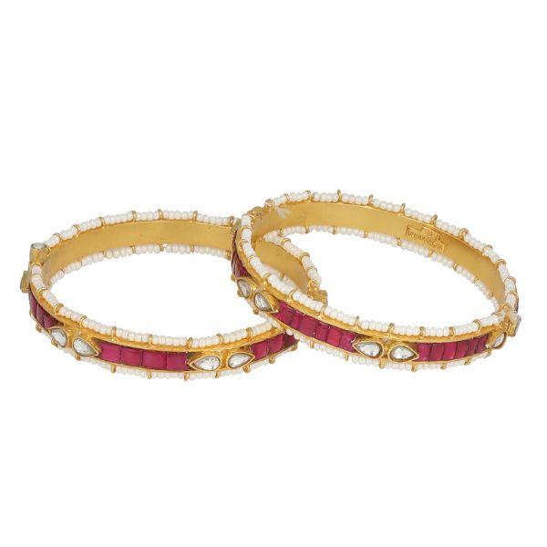 Silver Gold Plated Red Jadau Bangle ( Single) Bangles-Bracelets - By Unniyarcha - Original Manufacturers of Silver Jewelry, Gold Plated Jewellery, Fashion Jewellery and Personalized Soul Bands and Personalized Jewelry