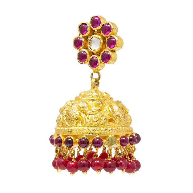 Silver Gold Plated temple jhumka - By Unniyarcha - Original Manufacturers of Silver Jewelry, Gold Plated Jewellery, Fashion Jewellery and Personalized Soul Bands and Personalized Jewelry
