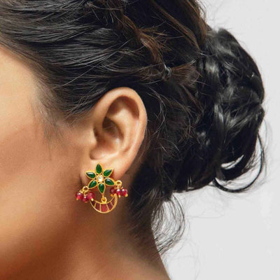 Silver gold plated traditional flower earrings - By Unniyarcha - Original Manufacturers of Silver Jewelry, Gold Plated Jewellery, Fashion Jewellery and Personalized Soul Bands and Personalized Jewelry