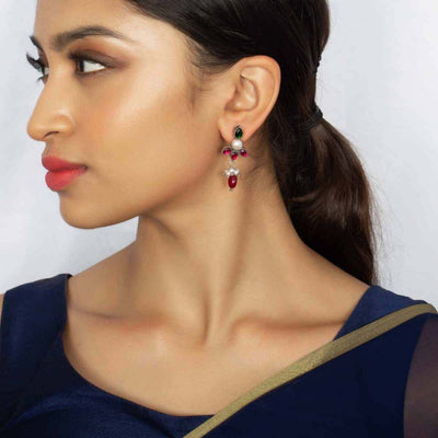 SILVER GOLDPLATED Petal Earring - By Unniyarcha - Original Manufacturers of Silver Jewelry, Gold Plated Jewellery, Fashion Jewellery and Personalized Soul Bands and Personalized Jewelry