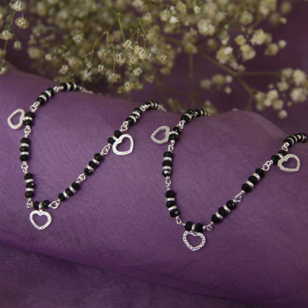 Silver Heart Chain Nazariya Anklets - By Unniyarcha - Original Manufacturers of Silver Jewelry, Gold Plated Jewellery, Fashion Jewellery and Personalized Soul Bands and Personalized Jewelry
