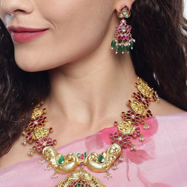 Silver Kundan Dangling Earrings Earrings - By Unniyarcha - Original Manufacturers of Silver Jewelry, Gold Plated Jewellery, Fashion Jewellery and Personalized Soul Bands and Personalized Jewelry