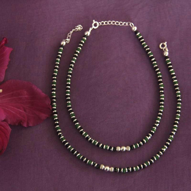 Silver Nazariya Green anklet Anklets - By Unniyarcha - Original Manufacturers of Silver Jewelry, Gold Plated Jewellery, Fashion Jewellery and Personalized Soul Bands and Personalized Jewelry