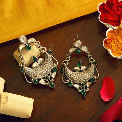 Silver Oxidised Mughal Jadau Earring - By Unniyarcha - Original Manufacturers of Silver Jewelry, Gold Plated Jewellery, Fashion Jewellery and Personalized Soul Bands and Personalized Jewelry