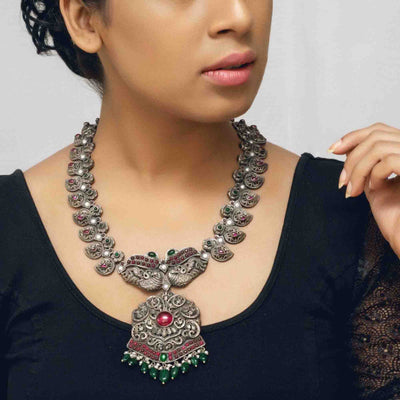 Silver Oxidised Statement Peacock Necklace - By Unniyarcha - Original Manufacturers of Silver Jewelry, Gold Plated Jewellery, Fashion Jewellery and Personalized Soul Bands and Personalized Jewelry