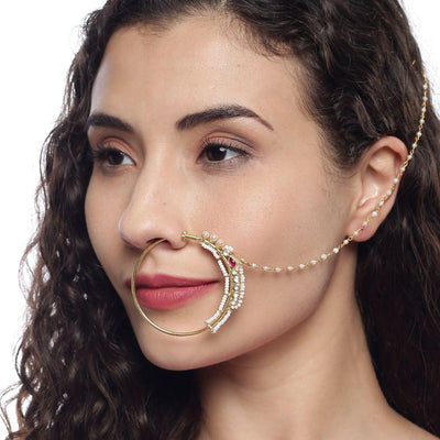 Silver Pearl Nath Nose Pins - By Unniyarcha - Original Manufacturers of Silver Jewelry, Gold Plated Jewellery, Fashion Jewellery and Personalized Soul Bands and Personalized Jewelry