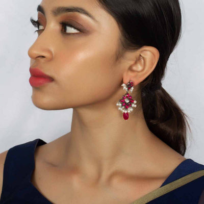 Silver Pink Earring - By Unniyarcha - Original Manufacturers of Silver Jewelry, Gold Plated Jewellery, Fashion Jewellery and Personalized Soul Bands and Personalized Jewelry