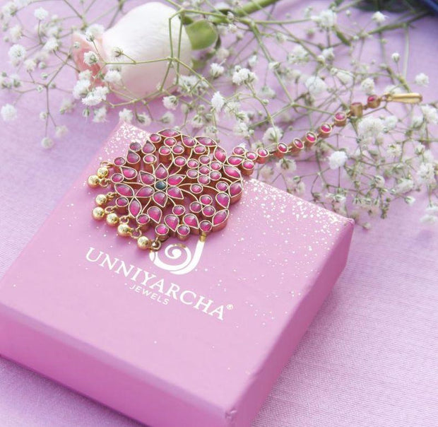 Silver Pink Maangtikka Others - By Unniyarcha - Original Manufacturers of Silver Jewelry, Gold Plated Jewellery, Fashion Jewellery and Personalized Soul Bands and Personalized Jewelry