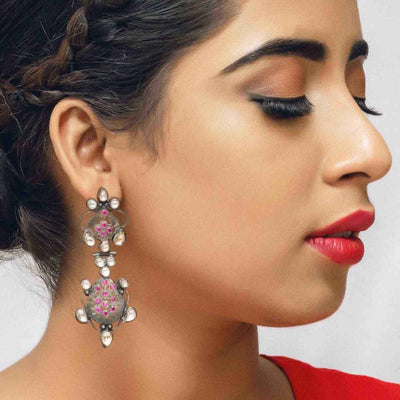 Silver Pink Zircon Earring - By Unniyarcha - Original Manufacturers of Silver Jewelry, Gold Plated Jewellery, Fashion Jewellery and Personalized Soul Bands and Personalized Jewelry