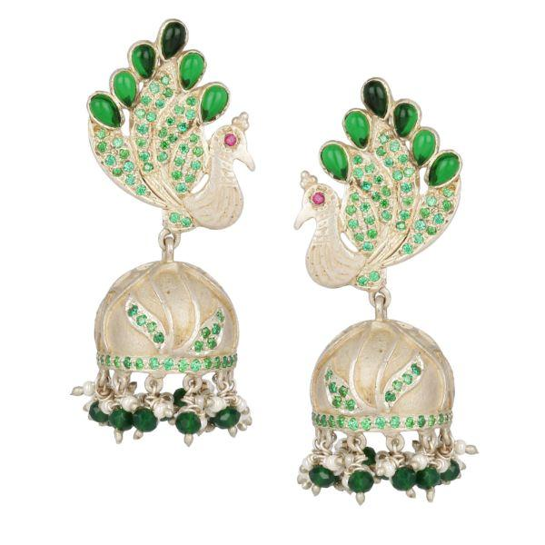 Silver Pretty Peacock Jhumka Earrings Green - By Unniyarcha - Original Manufacturers of Silver Jewelry, Gold Plated Jewellery, Fashion Jewellery and Personalized Soul Bands and Personalized Jewelry