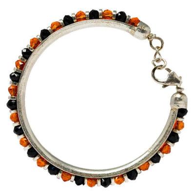 Silver Orange  and Black Baby Bangle(PAIR) - By Unniyarcha - Original Manufacturers of Silver Jewelry, Gold Plated Jewellery, Fashion Jewellery and Personalized Soul Bands and Personalized Jewelry