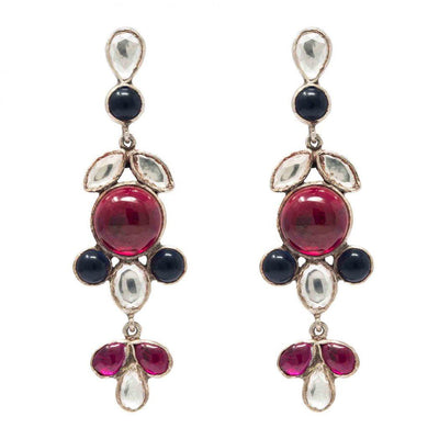 Silver Red & Blue Earring - By Unniyarcha - Original Manufacturers of Silver Jewelry, Gold Plated Jewellery, Fashion Jewellery and Personalized Soul Bands and Personalized Jewelry