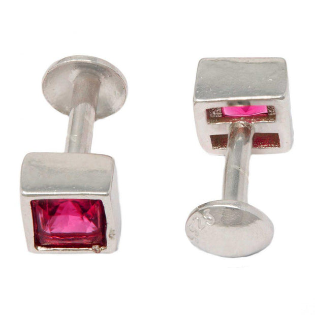Silver Red Studs - By Unniyarcha - Original Manufacturers of Silver Jewelry, Gold Plated Jewellery, Fashion Jewellery and Personalized Soul Bands and Personalized Jewelry