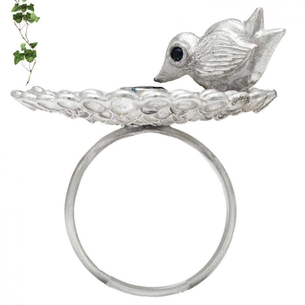 Silver Robin Love RIng - By Unniyarcha - Original Manufacturers of Silver Jewelry, Gold Plated Jewellery, Fashion Jewellery and Personalized Soul Bands and Personalized Jewelry