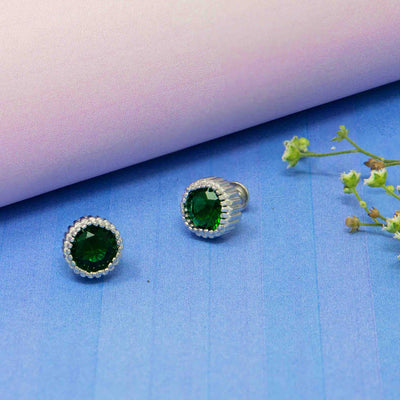 Silver Round Green Studs - By Unniyarcha - Original Manufacturers of Silver Jewelry, Gold Plated Jewellery, Fashion Jewellery and Personalized Soul Bands and Personalized Jewelry