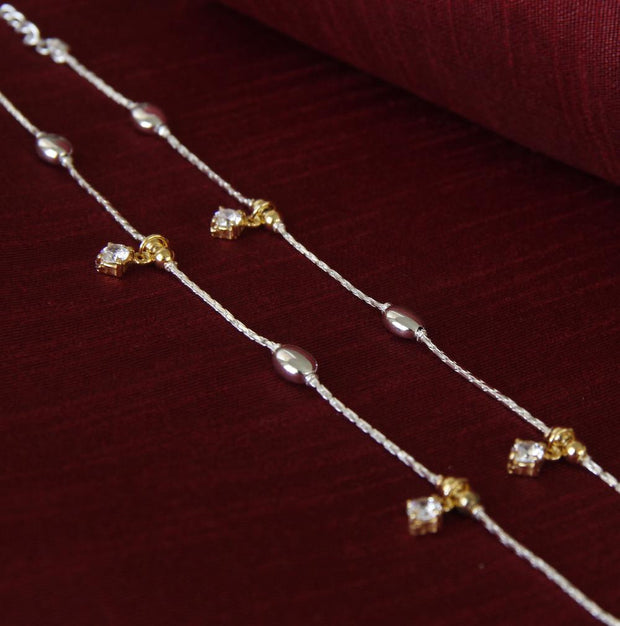 Silver Two Tone Bead Anklets Anklets - By Unniyarcha - Original Manufacturers of Silver Jewelry, Gold Plated Jewellery, Fashion Jewellery and Personalized Soul Bands and Personalized Jewelry