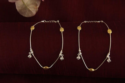 Silver Two Tone Dome ANklet Anklets - By Unniyarcha - Original Manufacturers of Silver Jewelry, Gold Plated Jewellery, Fashion Jewellery and Personalized Soul Bands and Personalized Jewelry