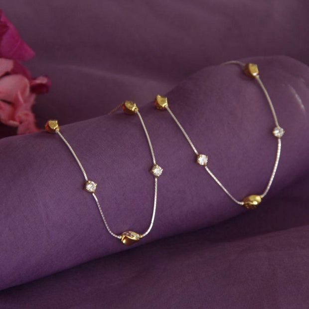 Silver TWO TONE PAYAL Anklets - By Unniyarcha - Original Manufacturers of Silver Jewelry, Gold Plated Jewellery, Fashion Jewellery and Personalized Soul Bands and Personalized Jewelry