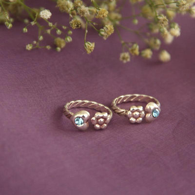 Sky Blue Zircon Toe RIng Toe Rings - By Unniyarcha - Original Manufacturers of Silver Jewelry, Gold Plated Jewellery, Fashion Jewellery and Personalized Soul Bands and Personalized Jewelry