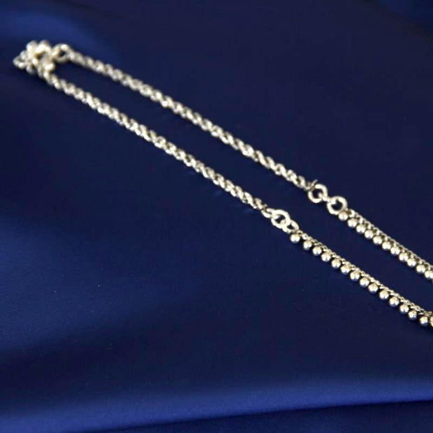 Small beads Silver Anklet Anklets - By Unniyarcha - Original Manufacturers of Silver Jewelry, Gold Plated Jewellery, Fashion Jewellery and Personalized Soul Bands and Personalized Jewelry