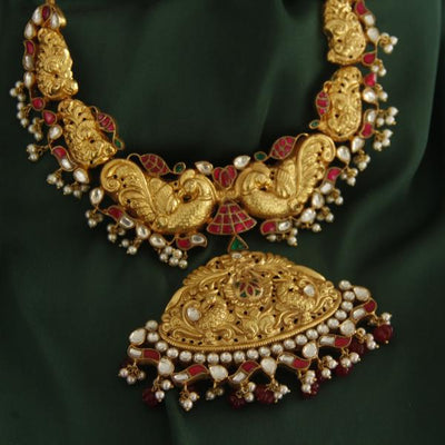 Temple Kundan Jadau Necklace Necklaces - By Unniyarcha - Original Manufacturers of Silver Jewelry, Gold Plated Jewellery, Fashion Jewellery and Personalized Soul Bands and Personalized Jewelry